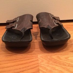 Wolky brown leather flip flops. Size 9